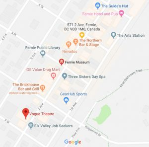 Map of downtown Fernie, BC, Canada